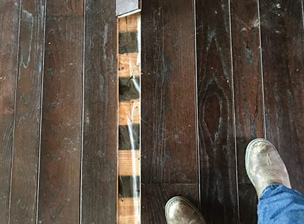 This Is A Typical Plank Floor Over Screeds With Plastic On Top Of The In Area It S Common To Use Protect Wood From